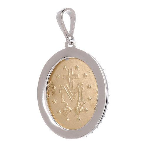 Miraculous Medal bicolor pendant 750/00 gold white Swarovski crystals 3.35 gr 2