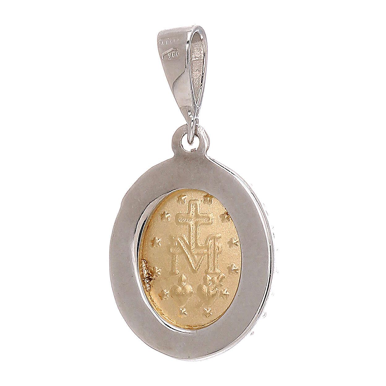 Pendente Madonna Miracolosa oro 18 carati bicolore Swarovski azzurri 1,7 gr 4