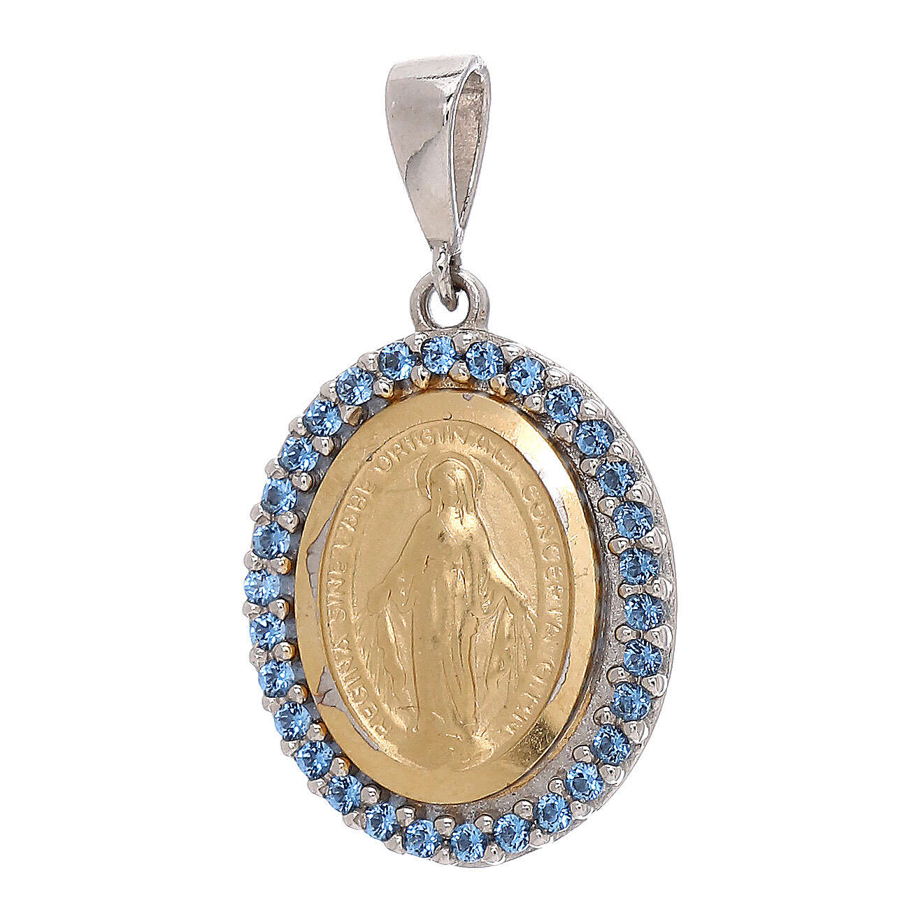 Colgante Virgen Milagrosa Swarovski azules oro 750/00 bicolor 4