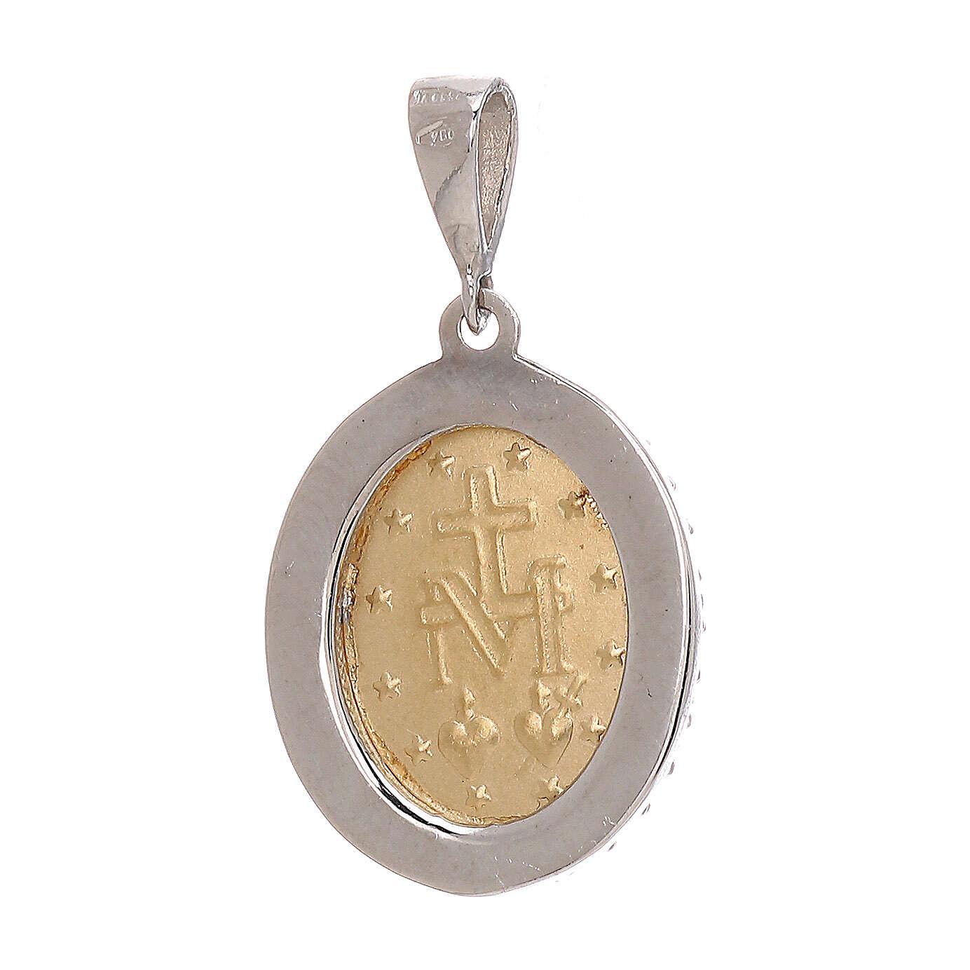 Pendente Madonna Miracolosa Swarovski azzurri oro 750/00 bicolore 4