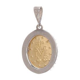 Pendente Madonna Miracolosa Swarovski azzurri oro 750/00 bicolore s2