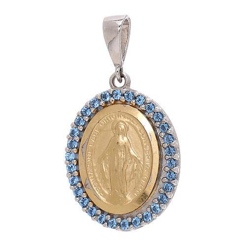 Pendente Madonna Miracolosa Swarovski azzurri oro 750/00 bicolore 1