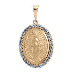 Colgante Medalla Milagrosa oro 18 quilates Swarovski azules 3,5 gramos s1