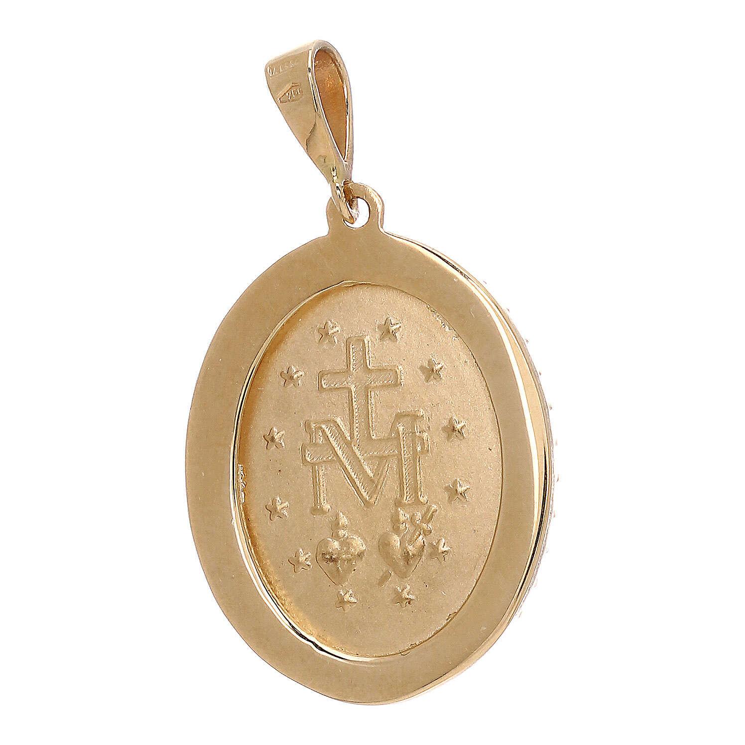 Pendente Medaglia Miracolosa oro 18 carati Swarovski azzurri 3,5 grammi 4