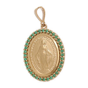 Colgante Virgen Milagrosa oro 750/00 Swarosvki verdes 3,4 gramos s1