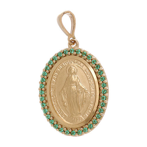 Colgante Virgen Milagrosa oro 750/00 Swarosvki verdes 3,4 gramos 1