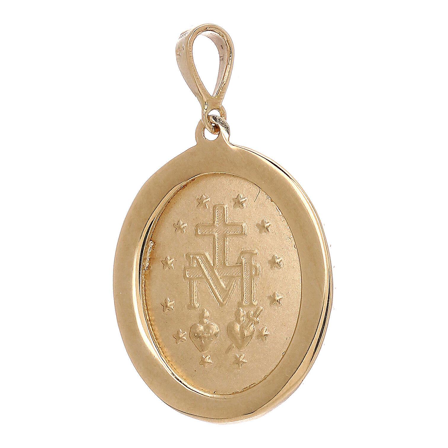 Ciondolo Madonna Miracolosa oro 750/00 Swarovski verdi 3,4 grammi 4