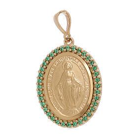 Ciondolo Madonna Miracolosa oro 750/00 Swarovski verdi 3,4 grammi s1