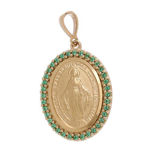 Ciondolo Madonna Miracolosa oro 750/00 Swarovski verdi 3,4 grammi 1