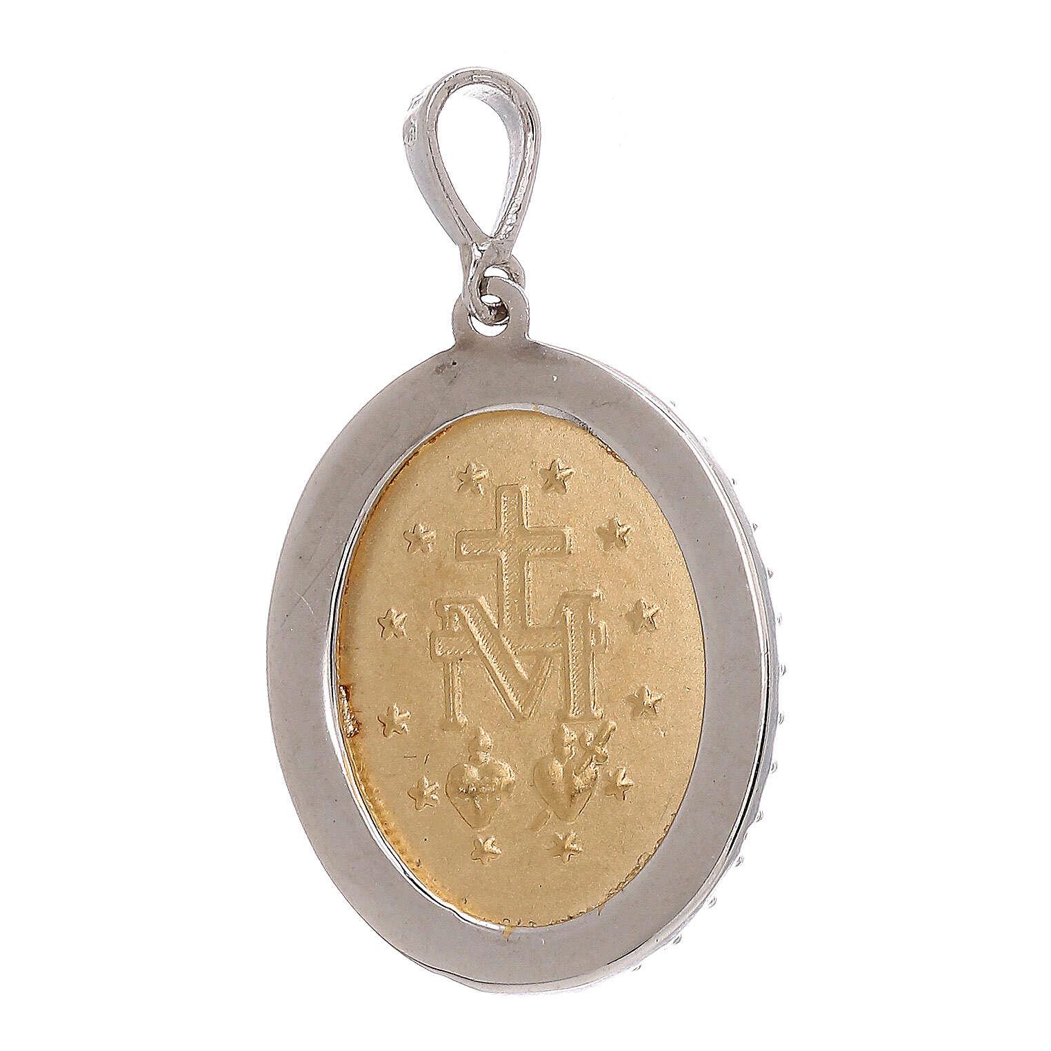 Miraculous Medal pendant 18-carat bicolor gold red Swarovski crystals 3.4 gr 4