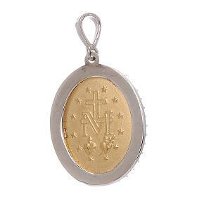 Miraculous Medal pendant 18-carat bicolor gold red Swarovski crystals 3.4 gr s2