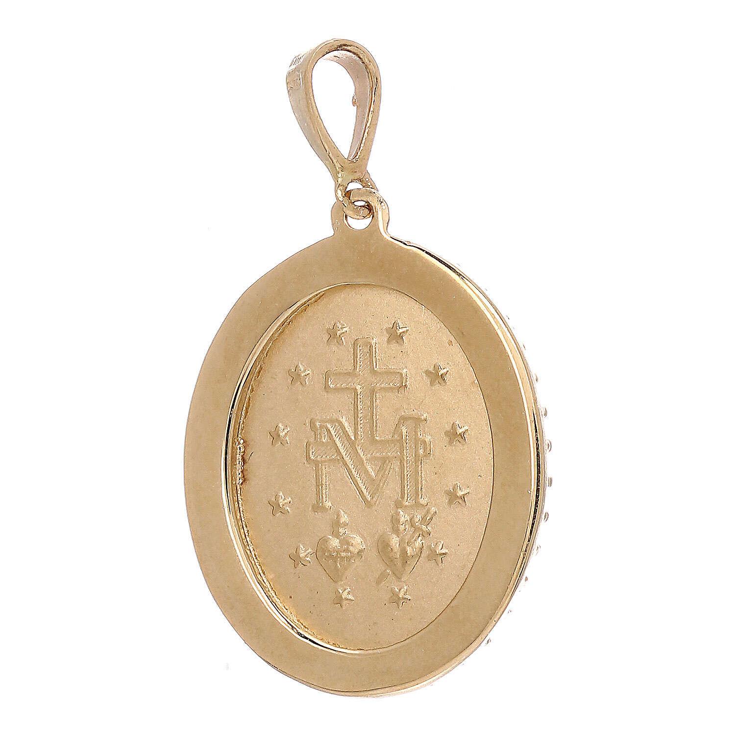Miraculous Medal pendant 18-carat yellow gold bleu Swarovski crystals 3.4 gr 4