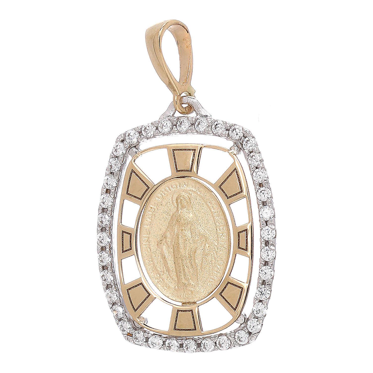 Pendente squadrato Medaglia Miracolosa oro 750/00 zirconi 2,1 grammi 4