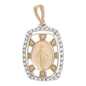 Pendente squadrato Medaglia Miracolosa oro 750/00 zirconi 2,1 grammi s1