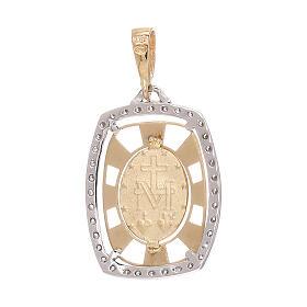 Pendente squadrato Medaglia Miracolosa oro 750/00 zirconi 2,1 grammi s2