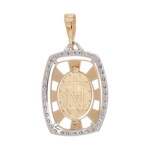 Pendente squadrato Medaglia Miracolosa oro 750/00 zirconi 2,1 grammi 2