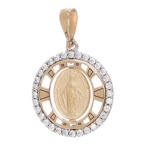 Colgante Medalla Milagrosa redondo oro 18 k bicolor zircones 1