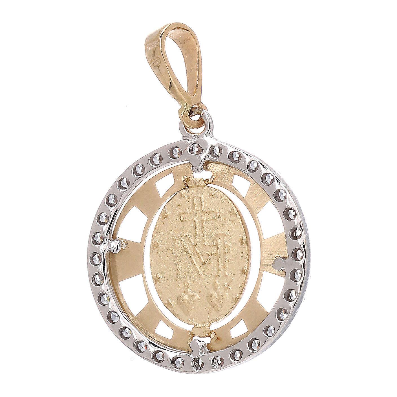 Pendente Medaglia Miracolosa tondo oro 18 kt bicolore zirconi 4