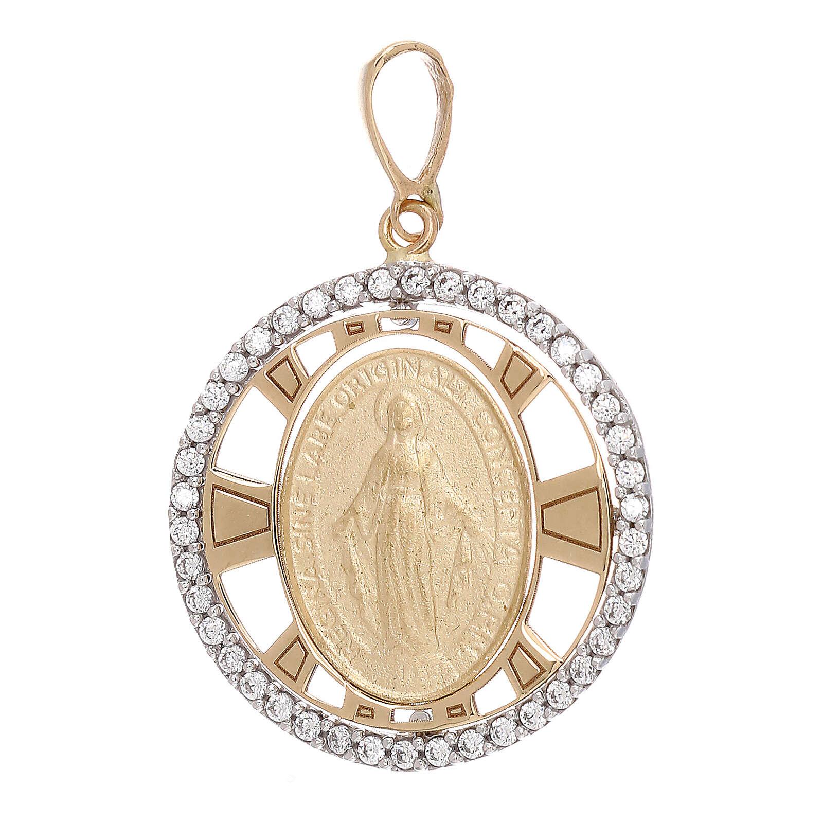 Pendente Madonna Miracolosa oro 750/00 zirconi tondo 2,7 grammi 4