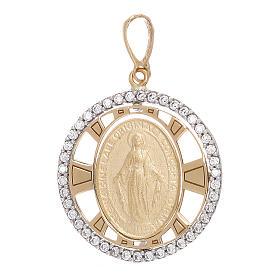 Pendente Madonna Miracolosa oro 750/00 zirconi tondo 2,7 grammi s1