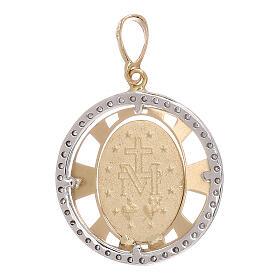 Pendente Madonna Miracolosa oro 750/00 zirconi tondo 2,7 grammi s2