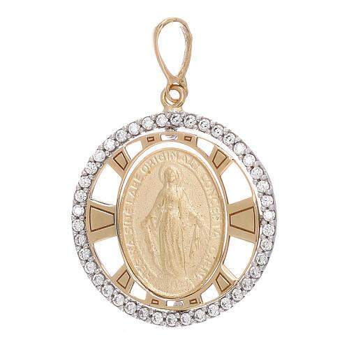 Pendente Madonna Miracolosa oro 750/00 zirconi tondo 2,7 grammi 1