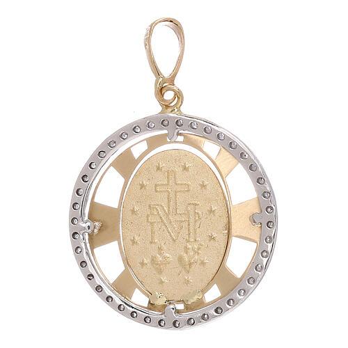 Pendente Madonna Miracolosa oro 750/00 zirconi tondo 2,7 grammi 2