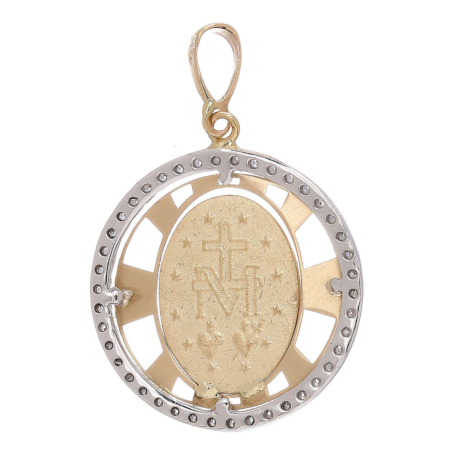 Round pendant Miraculous Medal 750/00 gold zircons 2.7 gr 4