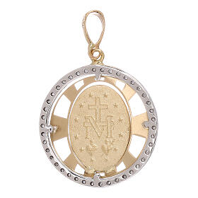 Round pendant Miraculous Medal 750/00 gold zircons 2.7 gr s2