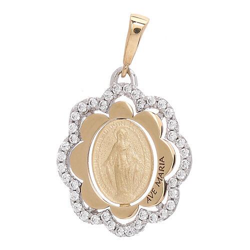Pendentif en fleur Médaille Miraculeuse or 750/00 zircons 2,2 gr 1
