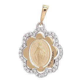 Pingente flor Medalha Milagrosa ouro 750/00 zircões 2,2 gr s1