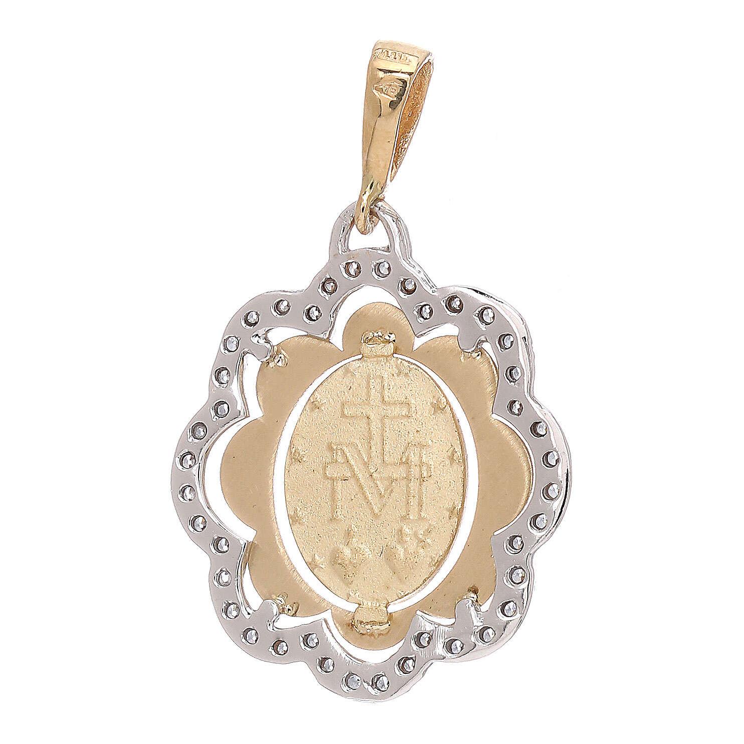 Flower pendant Miraculous Medal 750/00 gold zircons 2.2 gr 4