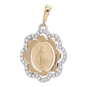 Flower pendant Miraculous Medal 750/00 gold zircons 2.2 gr s1