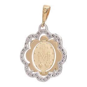 Flower pendant Miraculous Medal 750/00 gold zircons 2.2 gr s2