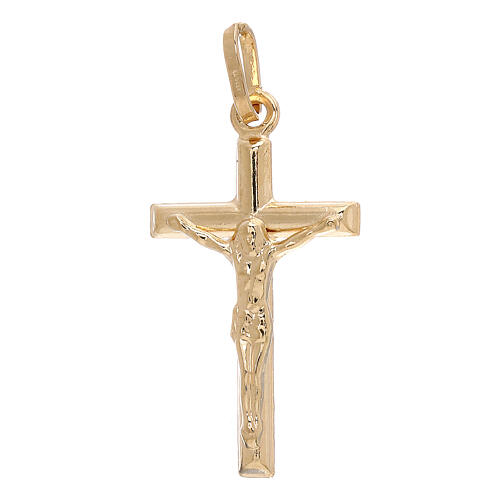 Crucifix pendant squared ends 18-carat yellow gold 1.2 gr 1