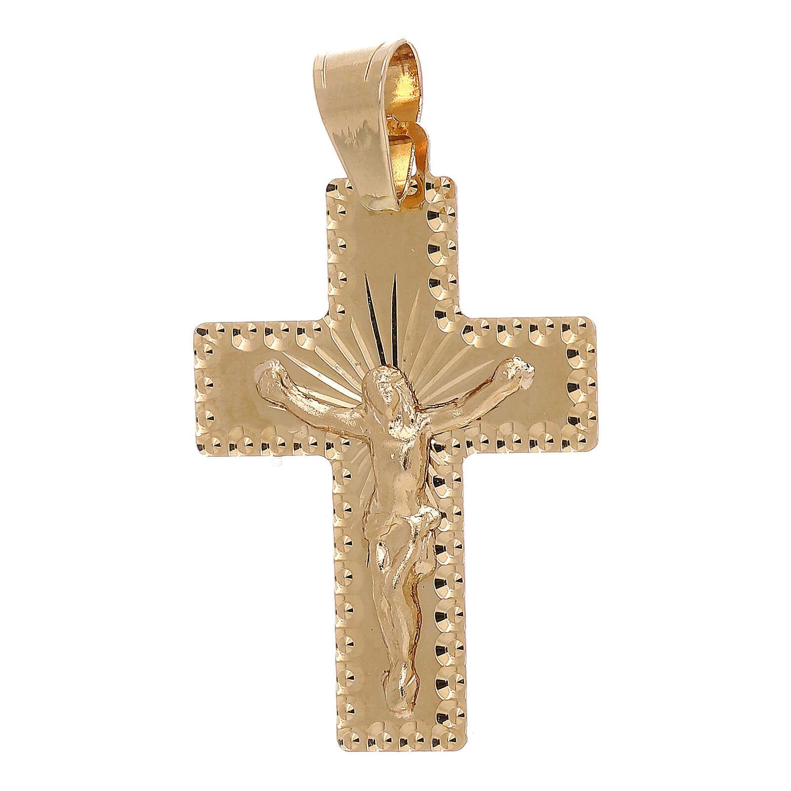 Croce pendente squadrata Cristo raggi oro 18 carati 1 gr 4