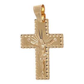 Croce pendente squadrata Cristo raggi oro 18 carati 1 gr s1