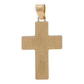 Croce pendente squadrata Cristo raggi oro 18 carati 1 gr s2