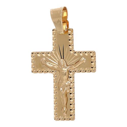 Cruz pingente bordos quadrados Cristo raios ouro 18K 1 gr 1