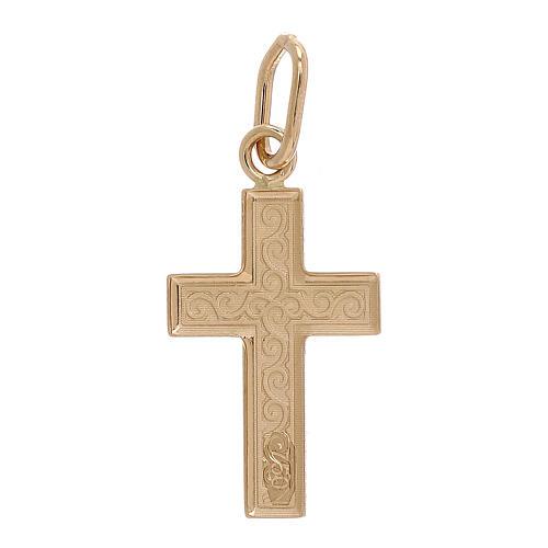 Pendentif croix or 750/00 arabesques 0,7 gr 2