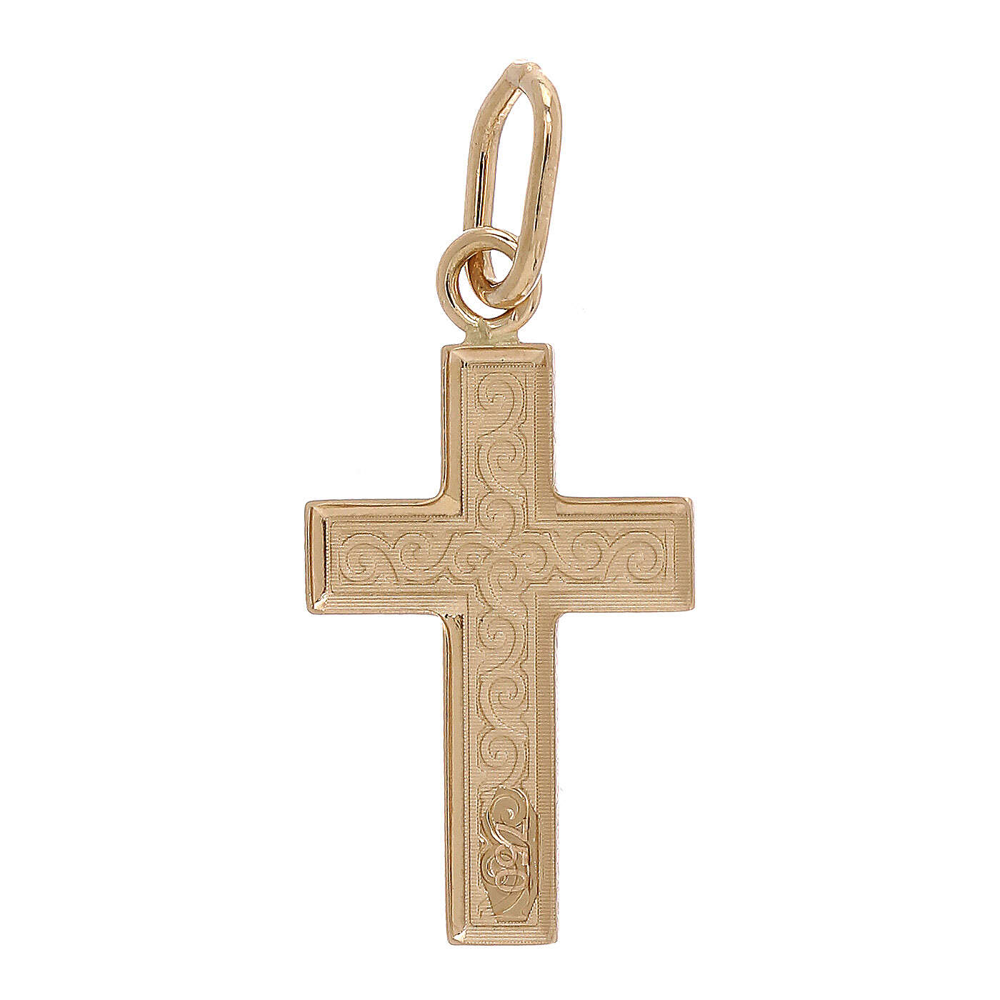 Cross pendant 750/00 gold guilloches 0.7 gr 4