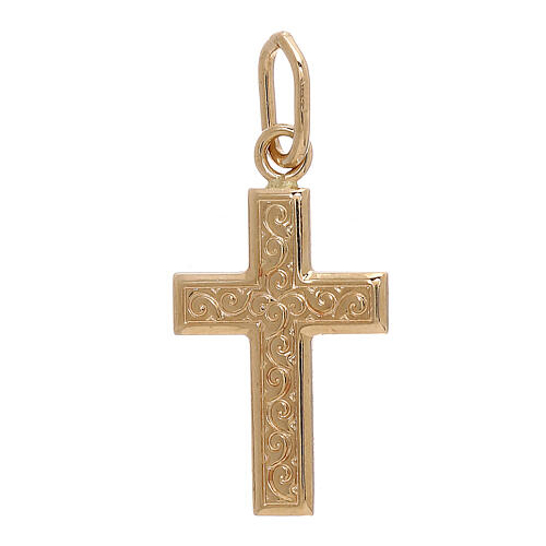 Cross pendant 750/00 gold guilloches 0.7 gr 1