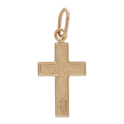 Cross pendant 750/00 gold guilloches 0.7 gr 2