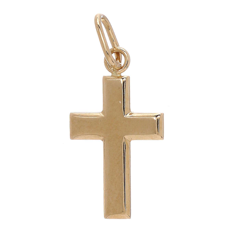 Croix pendentif plaque bombée or jaune 18K 0,7 gr 4