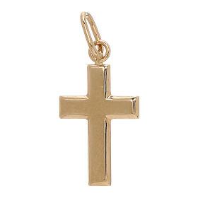 Croix pendentif plaque bombée or jaune 18K 0,7 gr s1
