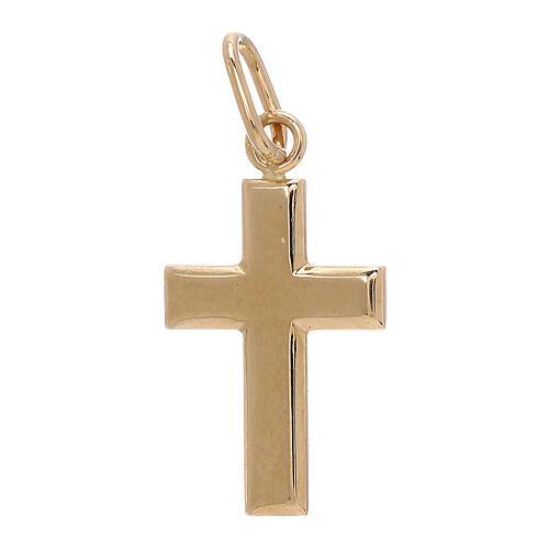 Croix pendentif plaque bombée or jaune 18K 0,7 gr 1