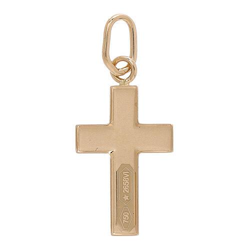 Croix pendentif plaque bombée or jaune 18K 0,7 gr 2
