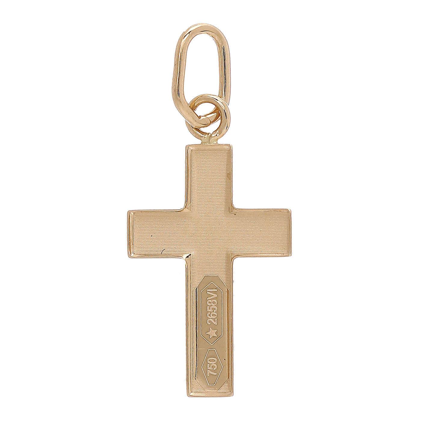 Croce pendente lastra bombata oro giallo 18 kt 0,7 gr 4
