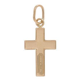 Croce pendente lastra bombata oro giallo 18 kt 0,7 gr s2