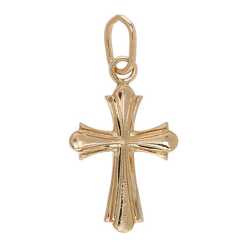 Cross pendant double finish 750/00 yellow gold 0.75 gr 2